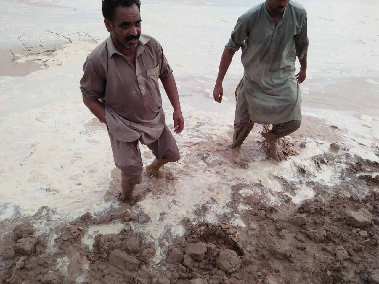 Catching the Leakage underneith the Field Embankment. Kot Kaisrani Spate Irrigation